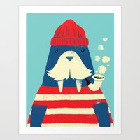 walrus Art Prints featuring The Walrus by Monster Riot