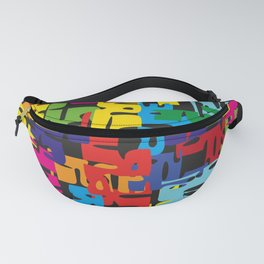 Bright pattern of puzzle pieces. Summer background for decoration of fabric and postcards with neon Fanny Pack