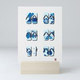 Navy Blue Japanese Sandal ink drawings Mini Art Print