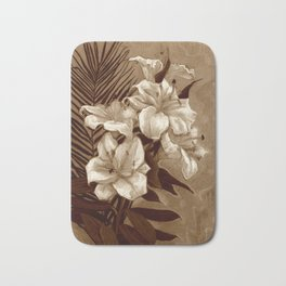 White Lilies and Palm Leaf in brownscale Bath Mat
