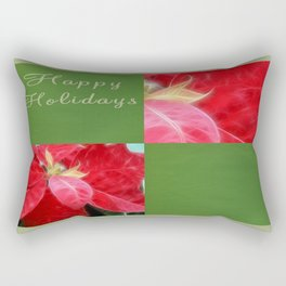 Mottled Red Poinsettia 2 Happy Holidays Q5F1 Rectangular Pillow
