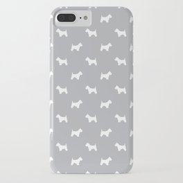 West Highland Terrier dog pattern minimal dog lover gifts grey and white iPhone Case