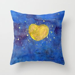 Heart shape Full Moon in the Universe Throw Pillow