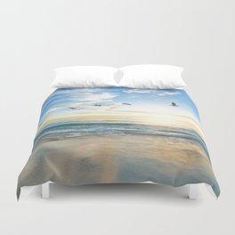 Ocean Beach Waves Sunset Photo Duvet Cover