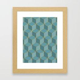 MISTY BLUE CUBE PATTERN (Gold Lined) Framed Art Print