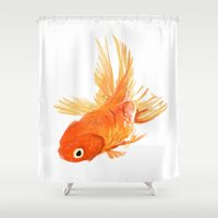 goldfish Shower Curtains featuring Goldfish by Tyler