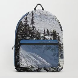 Mountains color palette of white-black-blue Backpack