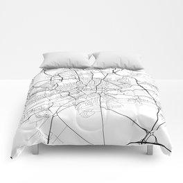 Frankfurt Map, Germany - Black and White Comforters