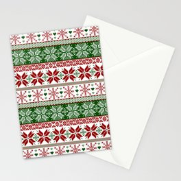 Green & Red Winter Fair Isle Stationery Cards