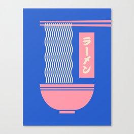 Ramen Japanese Food Noodle Bowl Chopsticks - Blue Canvas Print
