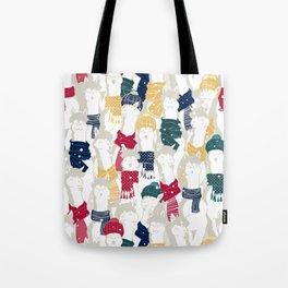 Happy llamas Christmas choir Tote Bag