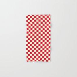 Cream Yellow and Crimson Red Checkerboard Hand & Bath Towel
