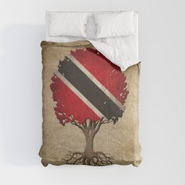 Vintage Tree of Life with Flag of Trinidad and Tobago Comforters