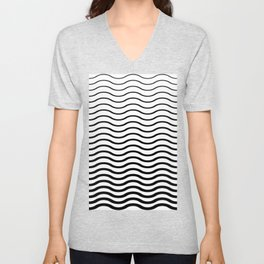 Waves Pattern, Geometric, Abstract, black and white version, Unisex V-Neck