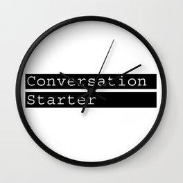 Conversation Starter typography Wall Clock
