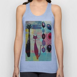 MidMod 2 Cats Graffiti Unisex Tank Top