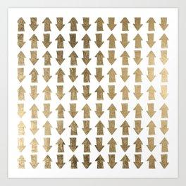 Chic modern faux gold white bohemian arrows pattern Art Print