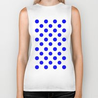 polka dots Biker Tanks featuring Polka Dots (Blue/White) by 10813 Apparel