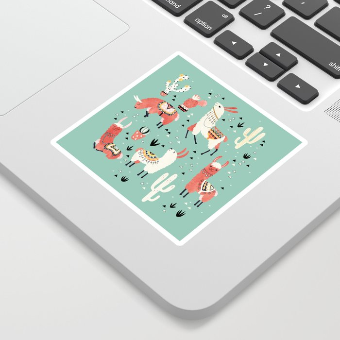 Llamas and cactus in a pot on green Sticker