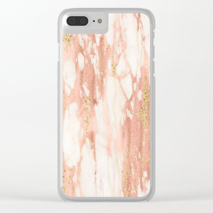 Rose Gold Marble - Rose Gold Yellow Gold Shimmery Metallic Marble Clear iPhone Case