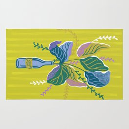 Wine Bottle Flower Vase | Green Rug