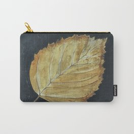 Hand-Painted Fall Ash Leaf Carry-All Pouch
