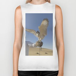 Falconer With Hooded Falcon In The Desert Biker Tank