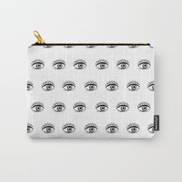 Linocut eyes pattern minimal black and white eye patterns Carry-All Pouch