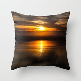 Golden glow over Black Butte Lake Throw Pillow
