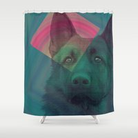 german Shower Curtains featuring German Shepherd by MOSAICOArteDigital