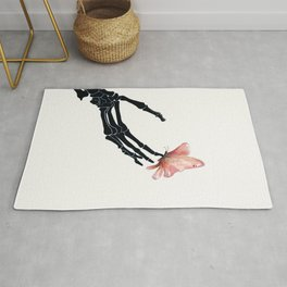 Butterfly on Skeleton Hand Rug