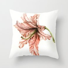 Pink Lily Flower Watercolor Throw Pillow