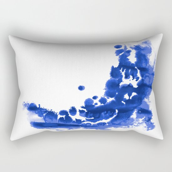 Paint 9 abstract indigo watercolor painting minimal modern canvas affordable dorm college art  Rectangular Pillow