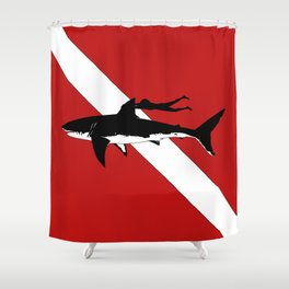 DIVER DOWN - great white shark dive Shower Curtain
