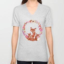 FOX & FLOWERS Unisex V-Neck
