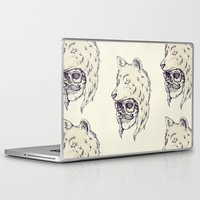 hat Laptop & iPad Skins featuring WOLF HAT by Mike Koubou