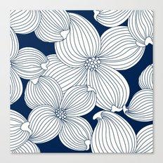 Dogwood Big Linear Floral: Navy Ivory Canvas Print