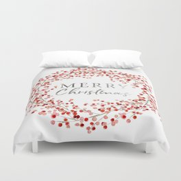 Merry Christmas wreath. Red berry Duvet Cover
