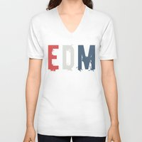 edm V-neck T-shirts featuring EDM by DropBass