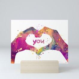 Heart Watercolor Art Print Love Hands Valentine's Day Mini Art Print
