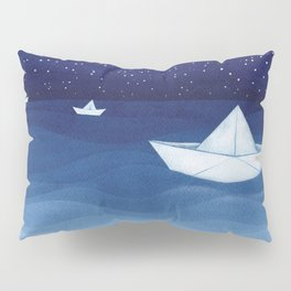Paper boats illustration Pillow Sham