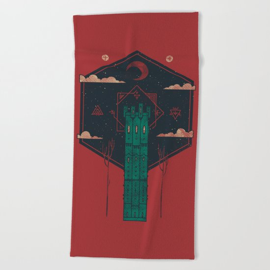 The Crimson Tower Beach Towel