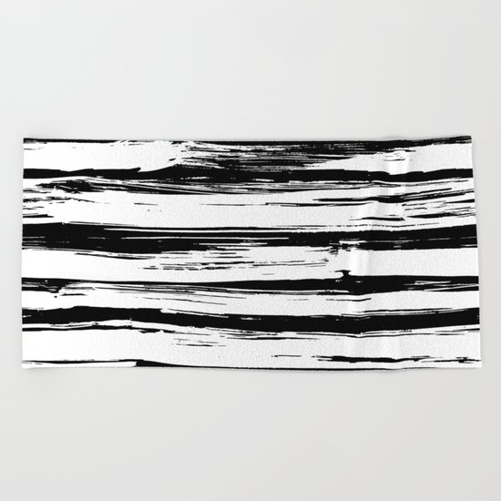Stylish Black and White Paint Stripes Beach Towel