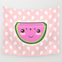 kawaii Wall Tapestries featuring Kawaii Watermelon by Pati Designs & Photography