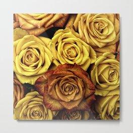 Golden Yellow Roses Pattern (Color) Metal Print