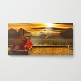 Vintage Car In The Sunset Metal Print