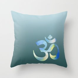 Teal Watercolor Om Throw Pillow
