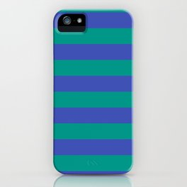 Even Horizontal Stripes, Teal and Indigo, L iPhone Case