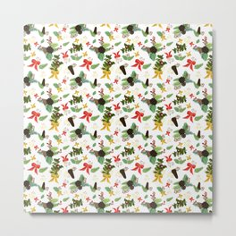 Berries and Bows on White Fabric Metal Print