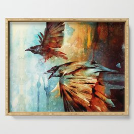 Crows in Flight Serving Tray